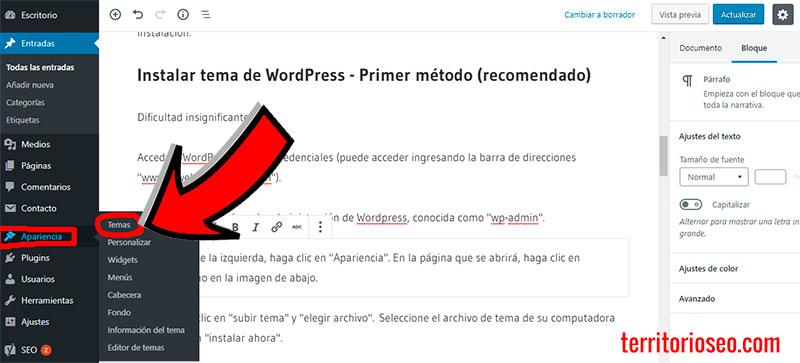 instalar theme wordpress español